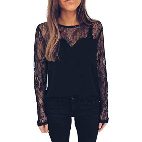 Daoope Camicia Donna Manica Lunga,Maglie A Manica Lunga da Donna T-Shirt Girocollo Nera Pizzo Trasparente Camicia Pizzo Tops Shirts Elegante Blusa Magliette