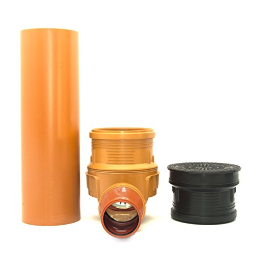 KG Schacht Kontrollschacht Revisionsschacht mit Rückstauklappe DN315 / 2 x DN110, Schachtdeckel voll Wasserdicht Geruchverschluss, Rohr - Komplett SET