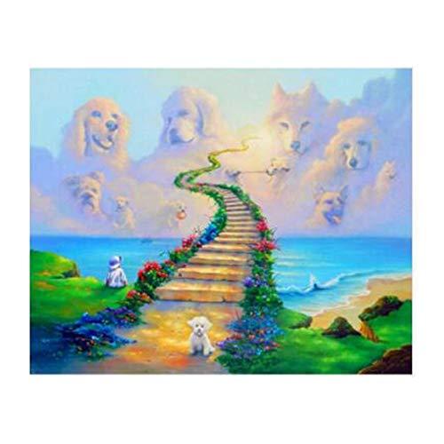 DIY Numeración 5D pintura diamante Kit Todos los perros van al cielo taladro completo redondo de cristal Rhinestone punto de cruz número Diamond painting por Inicio decoración de la salón pared50x70cm