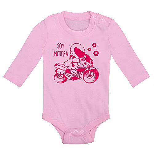ClickInk Body bebé Soy motero, soy motera. Regalo original. Body bebé divertido. Regalo bebé motero. Manga larga. (Rosa, 6 meses)