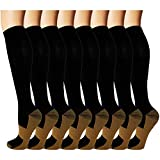 Best Knee High Compression Socks - 8 Pack Copper Knee High Compression Socks For Review