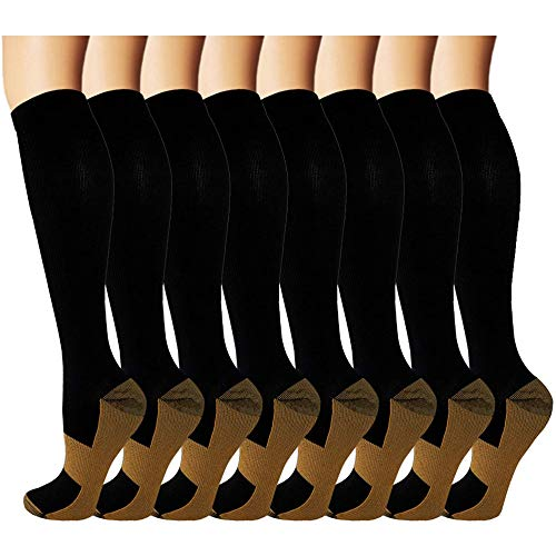 8 Pack Copper Knee High Compression Socks For Men & Women - Best For Running,Athletic,Medical,Pregnancy and Travel -15-20mmHg