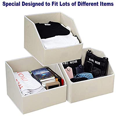 Woffit Linen Closet Storage Organizers – Set of 3 Foldable Baskets to Organize Your Sheets, Towels, Washclothes, Blankets, Clothing, Sweaters, Etc – 100% Organic Fabric Bins