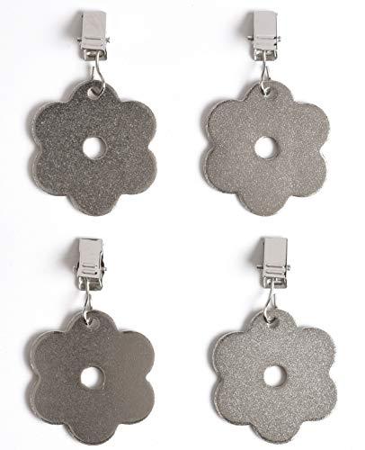 Venilia Blumen INOX Tischtuchbeschwerer Clip Tischtuchhalter Tischdeckengewichte aus PVC und Metall, Silber, 54207, Edelstahl
