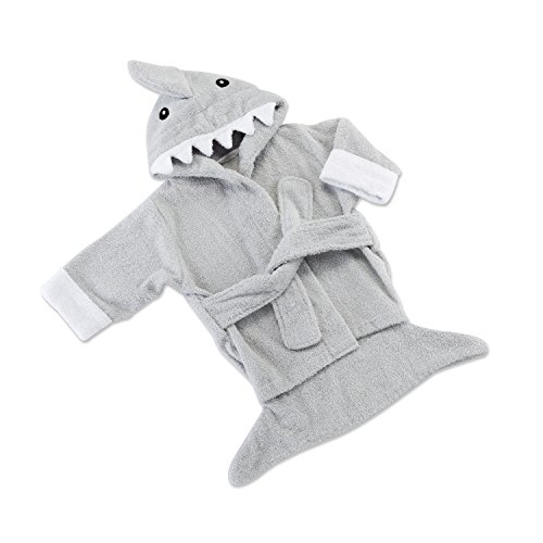 """Price comparison product image Baby Aspen Hooded Shark Robe, """"Let The Fin Begin"""",  Ultra Soft Gray Cotton Terry Toddler / Baby Boy Towel"""
