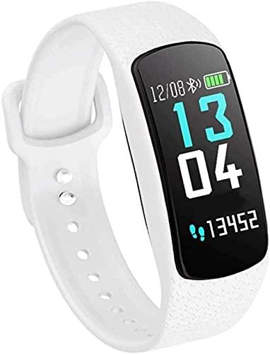 Rastreador de actividad con monitor de ritmo cardíaco, pulsera inteligente impermeable con contador de calorías y monitor de sueño, podómetro, reloj de salud (color negro), blanco