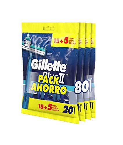Gillette Blue II Maquinillas desechables para hombre, pack 4 x 15 + 5, dos hojas de afeitar, cabezal fijo