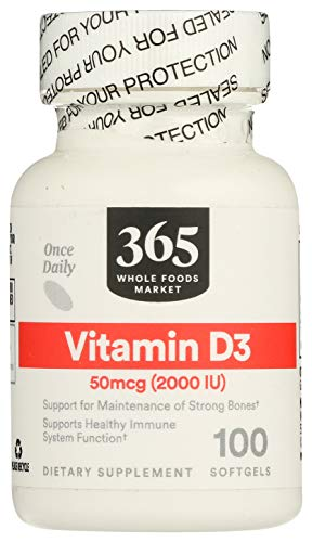 365 by Whole Foods Market, Supplements - Vitamins, D3 50mcg/2000 IU (Softgels), 100 Count