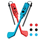 Golf Clubs for Mario Golf Nintendo Switch 2 Packs with 6 Pieces Thumb Grips 12 Inch Golf Clubs for Joy Con Rotatable-Rod Golf Club Joy Con Controller Golf Sports Game Accessories