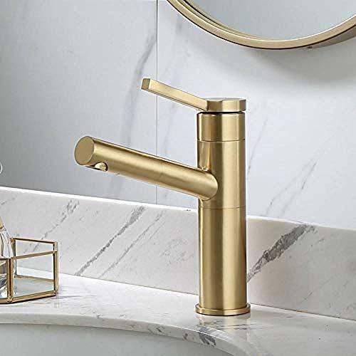 Grifo lavabo de baño lavabo de baño lavabo de cobre completo recipiente de agua dorado cepillado de una manija extraíble caliente y fría