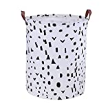 lujiaoshout Dot Pattern Laundry Hamper Canvas Water-Proof Fabric Laundry Basket Collapsible Storage Bin with PU Leather Handles