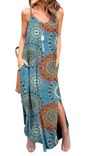 GRECERELLE Women#039s Summer Casual Loose Dress Spaghetti Strap Beach Cover Up Long Cami Floral Print Casual Maxi Dresses with Pocket FP Mix BlueXS