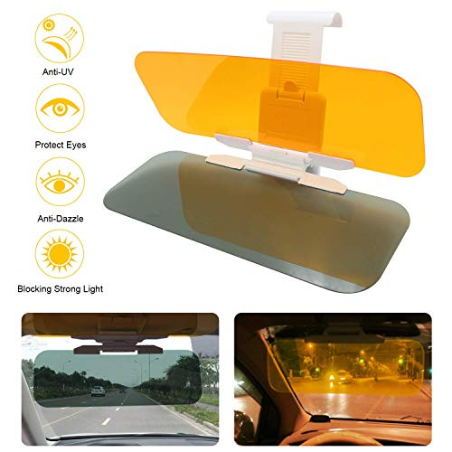 Diagtree Car Sun Visor - 2-in-1 Anti-Glare TACVISOR Day and Night Car Visor Mirrior Extender, Car Windshield Sun Blocker Car Goggles Shield, Night Vision Anti-Dazzle Driving Visor (Universal Size)