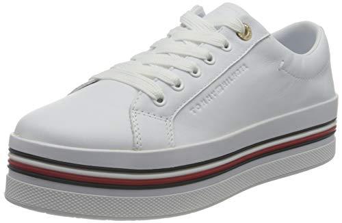 Tommy Hilfiger Corporate Flatform Cupsole, Suela de Zapato Plano Mujer, Blanco, 38 EU