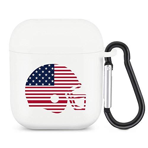 Funda para Airpods con llavero Airpod de la bandera americana, casco de fútbol con Bluetooth, funda protectora completa compatible con Apple Airpods 2 y 1 funda de carga