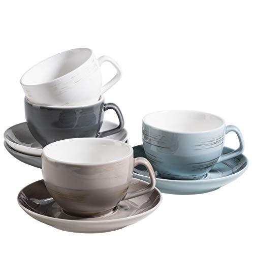 MÄSER 931609 Serie Derby Premium Kaffeetassen Set für 4 Personen in Gastronomie-Qualität, Tassen mit Untertassen in modernem Design und bunten Pastellfarben, Durable Porzellan
