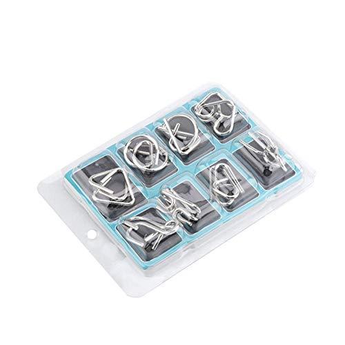 Metaaldraad IQ-puzzels, 8-delig Metalen puzzelspeelgoed Metalen puzzels Hersenkrakers voor volwassenen en kinderen Chinese puzzels IQ Ringpuzzel Educatief intelligentie speelgoed(B)