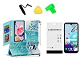for LG Rebel K31 L355DL Deluxe Wallet Pouch Case Phone Cover + Tempered Glass + Extreme Band + Stylus Pen + Pry Tool (Live Life)