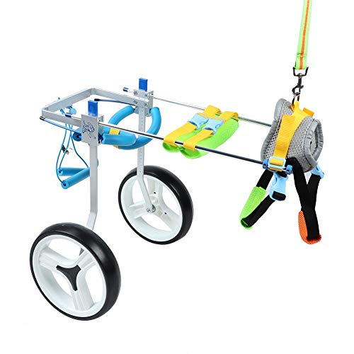Zouminyy Silla de Ruedas para Mascotas, aleación de Aluminio Silla de Ruedas para Mascotas Scooter de Entrenamiento de rehabilitación Ajustable para Perros discapacitados(M)