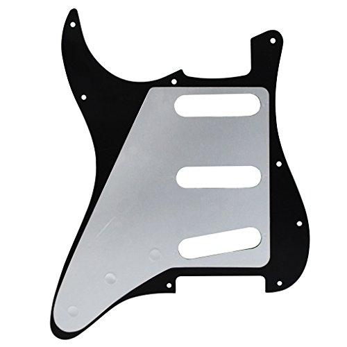FLEOR11ホールSSSスタイルギターピックガードセルロイド(フェンダーストラットエレクトリックギター交換、4プライブラックパール用PVCスクラッチプレート付)