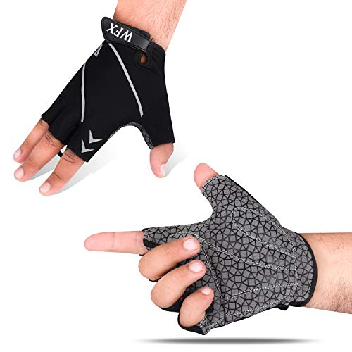 WESTWOOD FOX WFX Cycling Gloves Half Finger Bike Gloves Full Finger Mountain Bike Gloves for Men Women Shock-Absorbing Pad with Anit Slip Palm Light Weight Breathable (Half Finger (Black), Medium)
