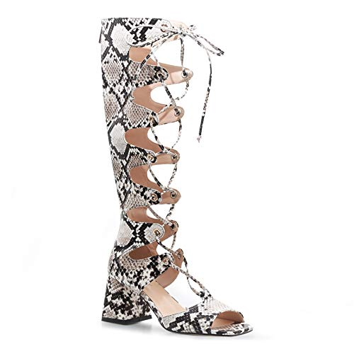 wetkiss Women's Knee High Boots Snake Print Wide Calf Colorful Snakeskin Boots Chunky High Heels Pointed Toe Women Shoes