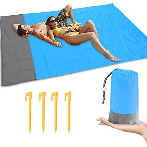 Doreleven Picknickdecke 200 * 140cm Stranddecke Wasserdicht, Strandmatte mit 4 Befestigung Ecken und Tasche,Picknick für den Strand, Campen, Wandern und Ausflüge
