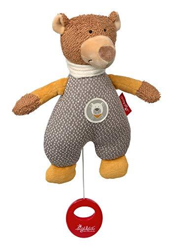 SIGIKID Mädchen und Jungen, Spieluhr zum Aufziehen HoniBoniBear Spieluhr , Babyspielzeug, Spielwerk austauschbar, ab 0 Monaten, Braun/Grau, 39424