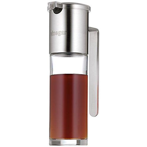 WMF Basic Essigspender 120ml, mit Aromadeckel und Rücklauföffnung, Essig und Öldosierer, Glas, Cromargan Edelstahl mattiert, spülmaschinengeeignet