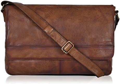 Genuine Leather Briefcases for Men Brown Messenger Bags 17 inch laptop product image