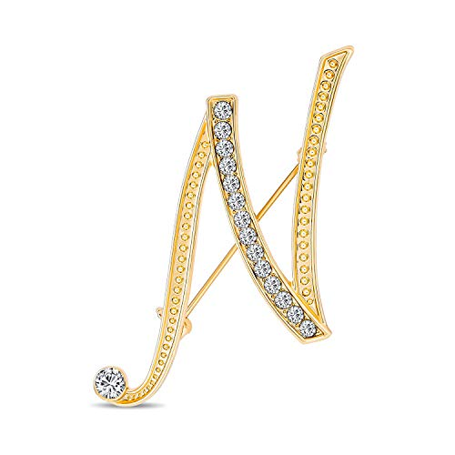 Bling Jewelry Große Aussage ABC Pave Kristall kursive Skript Monogramm Buchstaben Alphabet initial N Schal Anstecknadel Brosche für Frauen Gelbgold vergoldet