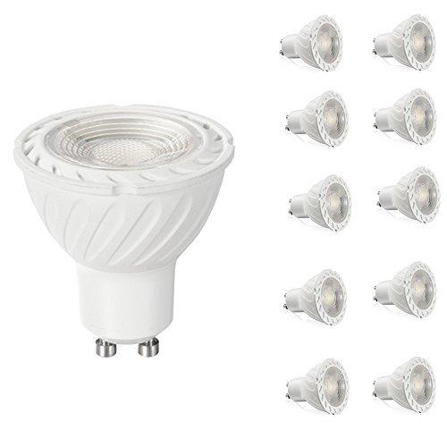 MATMO 10 Stück GU10 COB LED Lampe Birne 7 W, 650 Lumen, ersetzt 70 W Halogenlampen [10 Stück], 40 ° Abstrahlwinkel, Kaltweiß (6000 K) GU10 LED Leuchtmittel Glühbirnen