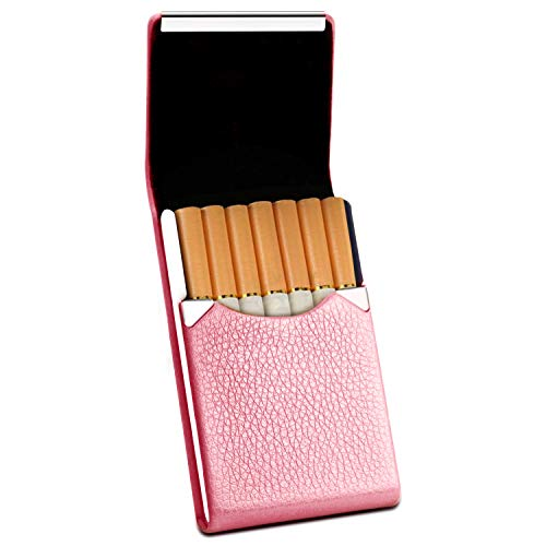 Rivia Classic Leather Cigarette Carrying Case for Women (Rose Pink)