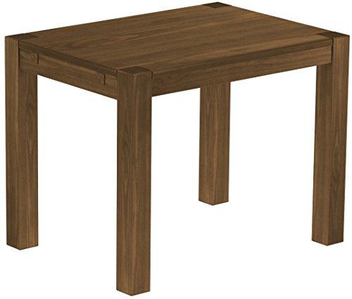 Brasilmöbel Esstisch Rio Kanto 100x73 cm Nussbaum Pinie Massivholz Größe und Farbe wählbar Esszimmertisch Küchentisch Holztisch Echtholz vorgerichtet für Ansteckplatten Tisch ausziehbar