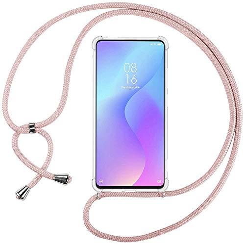 Ingen Funda con Cuerda para Xiaomi Mi 9T / 9T Pro - Carcasa Transparente TPU Suave Silicona Case con Colgante - Rosa