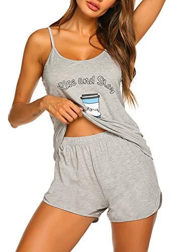Ekouaer Pajamas Women's Short Sleeve Sleepwear Soft Pj Set Summer Pajamas for Women Light Grey