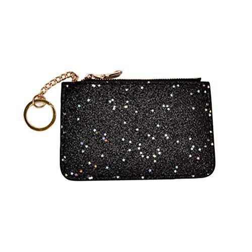 TENDYCOCO Portafoglio portamonete con portamonete con cerniera Star Mni Star con portachiavi (nero)