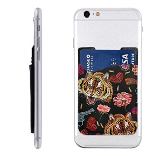 Cell Phone Card Holder Sticker Embroidery Tiger Head Flowers Hearts Guns Pu Leather Wallet Sleeves ,Cover Stick On Wallet for Phone and Android Smartphones
