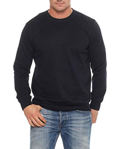 Benter Herren Pullover Sweatshirt mit Rundhalskragen unifarbener Basic Baumwoll Sweater Regular Fit 16946, XL, Navy
