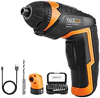 TACKLIFE SDP51DC Electric Screwdriver, 4.0V MAX 2.0Ah Li-ion Cordless Screwdriver Rechargeable, 4N.m, 31pcs Driver Bits, USB Charging, With LED, for Mounting Furniture such as Shelves and Mini-blind