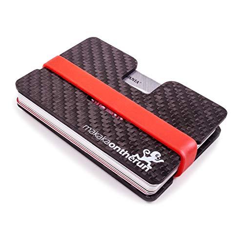 MakakaOnTheRun Carbon Slim Wallet (RFID Blocker) mit Münzfach: RFID Schutz Herren Kreditkartenetui mit Münzfach, Kartenetui & Mini Portemonnaie Herren, Slim Wallet Geldbeutel (Wallets for Men)