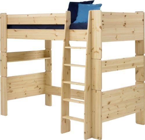 Steens For Kids Kinderbett, Hochbett, inkl. Lattenrost und Absturzsicherung, Liegefläche 90 x 200 cm, Kiefer massiv, natur lackiert