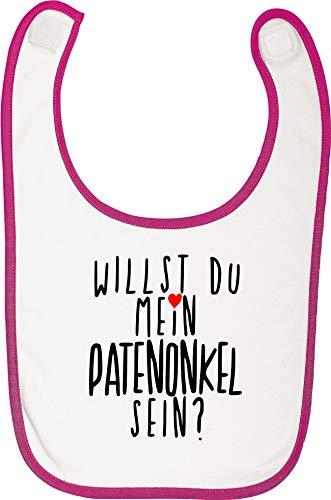 Sticker-tegel babyslabbetje spreuken klittenbandsluiting babyslabbetje met opdruk motief wil je mijn peetonkel zijn? FuchsiaWhite