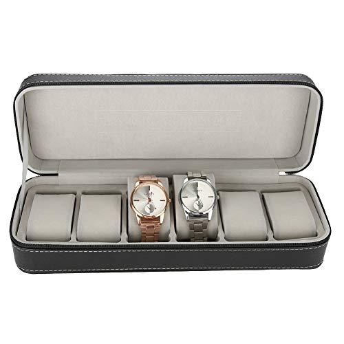 ZJchao - Caja de almacenamiento con 6 compartimentos con cremallera, piel sintética con algodón suave y cojín de almacenamiento, caja de regalo para hombres y mujeres