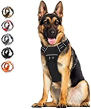 Dog Harness No Pull Reflective? WALKTOFINE Comfortable Harness with Handle?Fully Adjustable Pet Leash Vest for Small Medium Large Dog Breed Car Seat Harness Black XL