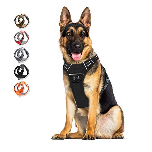 Dog Harness No Pull Reflective, WALKTOFINE Comfortable Harness with Handle,Fully Adjustable Pet Leash Vest for Small Medium Large Dog Breed Car Seat Harness Black XL