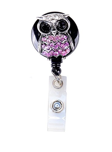 3D Bling Crystal Owl Badge Reel Retractable ID Badge Holder (C - Pink)