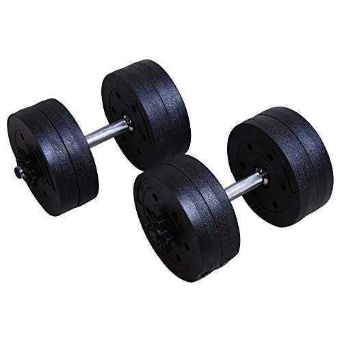 Soozier 20-Kilogram 44-Pound Adjustable Pair Dumbbell Set for Weight Fitness Training Exercise, Black