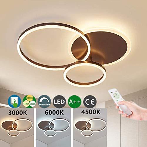 LED Deckenleuchte Moderne Wohnzimmerlampe Ring Designer Deckenlampe Dimmbare Mit Fernbedienung Acryl Beleuchtung Decken Lampe Esszimmerlampe Schlafzimmerlampe Zimmer Lichter Kronleuchter,Braun,3ring