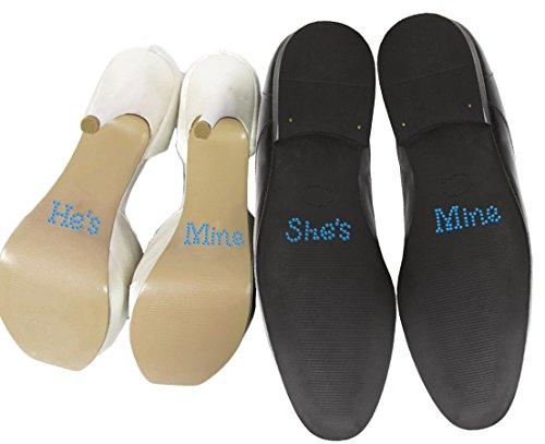 Set von 'He 's Mine' She 's mine 'Kristall Strass Hochzeit Aufkleber, Schuh, blau